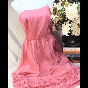 1980 vintage pink spaghetti strap dress lace trim